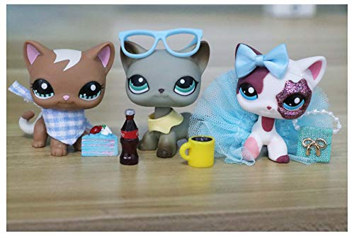 WOLFGIRL LPS Shorthair Cat Lot 391 1170 2291 Grey Brown Pink Blue Eyes Kitten Collect Figure with Accessories Lot Kids Gift