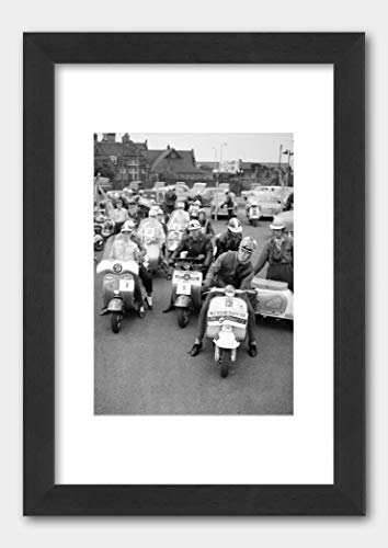D.M. Scooter Realists Daily Mirror Scooter Rally at Sywell 1960 Poster Black Frame 29.7x42cm (A3) White