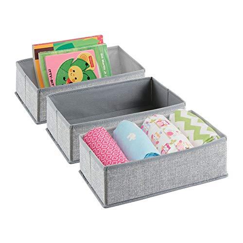 mDesign Soft Fabric Dresser Drawer and Closet Storage Organizer for Toddler/Kids Bedroom, Nursery, Playroom - Rectangular Bin with Textured Print, 3 Pack - Gray