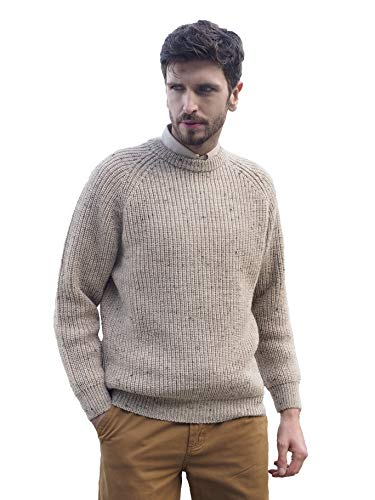 Aran Crafts Men's Fisherman Irish Rib Crew Neck Wool Sweater (C761-MED-SKI)