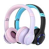 Mpow CH9 [2 Pack] Kids Bluetooth 5.0 Headphones, LED Light Up Wireless Foldable Headset