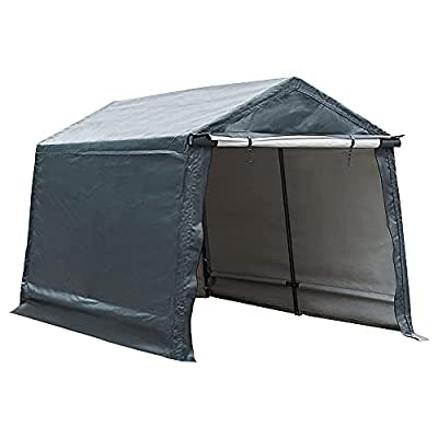 Abba Patio Outdoor Storage Shelter with Rollup Door Storage Shed Portable Garage Kit Tent for Motocycle Garden Storage Grey?8 x 14 ft