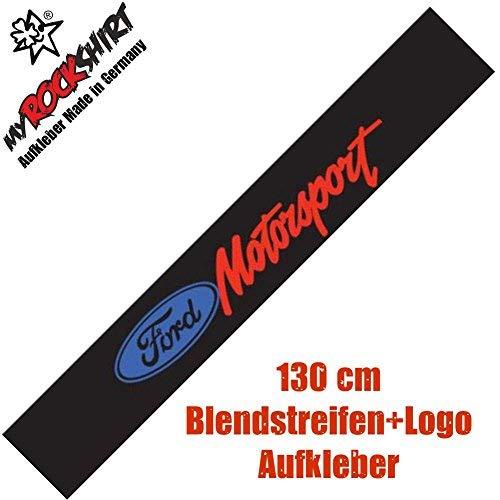 myrockshirt Frontscheibenaufkleber kompatibel für Ford Motorsport Blendstreifen + Logo Aufkleber Set