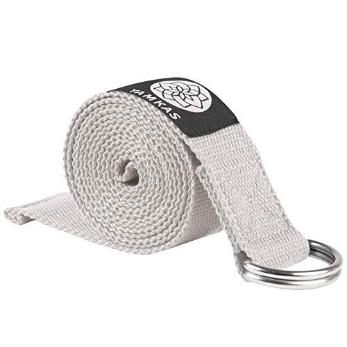 Yamkas Yoga Gurt 100{e124dfa098c54285c48add64c5e4d4e08eb8c1b5179a2238a0987f1c3747297d} Bio Baumwolle | 1.8M - 3M Lang | Yogagurt mit Verschluss aus Metall | Yoga Strap Stretch Band | Grau