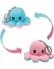 MOMSIV Porte-clés réversible en peluche Octopus - Double face Flip Octopus Doll Porte-clés de voiture réversible en forme de pieuvre pour garçon, fille et amoureux