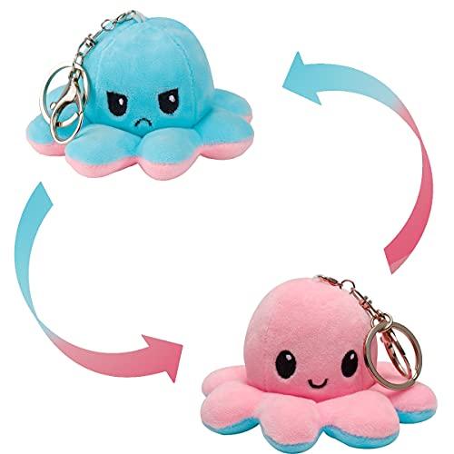 MOMSIV Oktopus Kuscheltier Schlüsselanhänger -Reversible Octopus Plüschtier -Oktopus Kuscheltier Octopus plüschtier für Mädchen, für Frauen, für Kinder Oktopus Plüschfigur Schlüsselanhänger