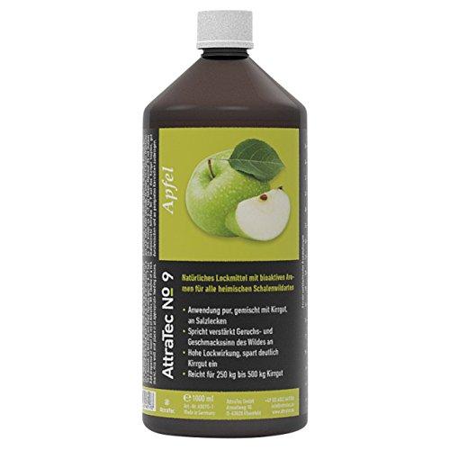 AttraTec No 9 Premium Lockmittel Wild Schalendwild Reh Rothirsch Gams Steinbock Wildschweine Kirrgut oder Salzlecken 1 Liter – Apfel