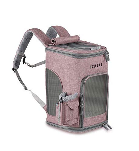HIKEMAN Pet Carrier Backpack for Small Dogs Cats Lockable Zipper Breathable Mesh Top Openable Foldable Dog Cat Rucksack Suitable Waterproof Padded Fabric Pet Dog Puppy Cat Backpack(Pink)