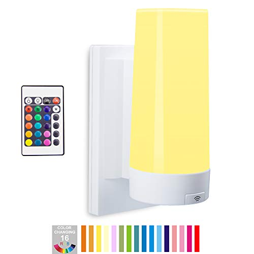 BIGLIGHT Wireless Wall Sconce Light Battery Operated, Multi Color Changing, Remote Controlled, Dimmable Night Light, RGB Stick on Lamp for Hallway Bathroom Kids Bedroom Home Decor Mood Lighting