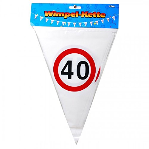 Verjaardag wimpel slinger 40 jaar verkeersbord party decoratie Happy Birthday