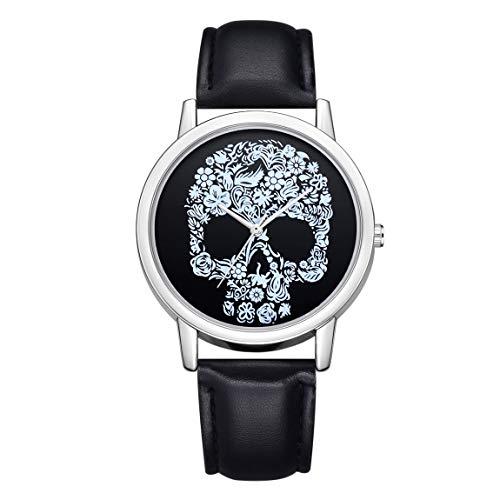 SeniorMar-UK DBSUFV Relojes de Pulsera de Cuarzo con patrón de Cabeza de Calavera para Mujer, Reloj de Horas de Moda Simple, cinturón de Cuero para Mujer, Relojes para Mujer (Negro)