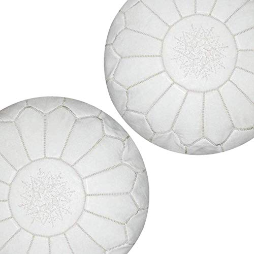 ArtOuarzazate Set of 2 Beautiful Handmade Moroccan poufs Real Natural Leather Ottomans Poof Footstool Pouf from Morocco | Colors White Ivory 100%...