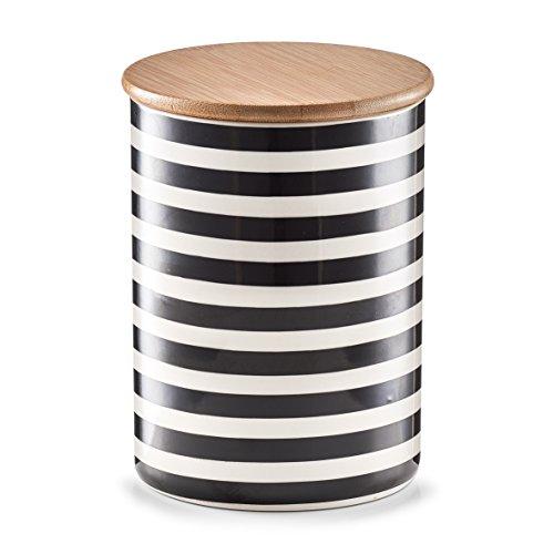Zeller 19824 Vorratsdose m. Bamboodeckel 'Stripes', Keramik, ca. Ø 11,5 x 15 cm