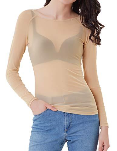 Camiseta de Color Liso para Mujer de Manga Larga de Malla Slim fit Camiseta Casual Transparente Tops Beiga 2XL CL011046-3