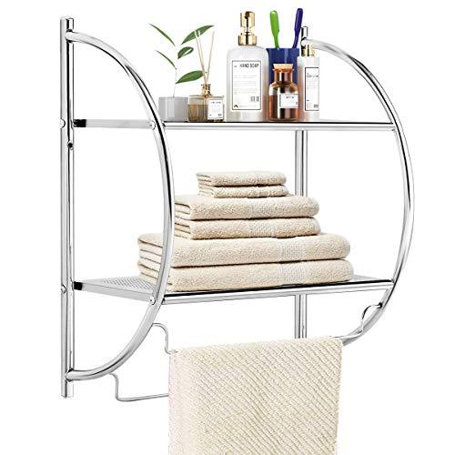 TANGKULA Wall Mount 2 Tier Bathroom Shelf with Towel Bars, 18'W X 10'D X 22'H, Chrome Bathroom Shelf, Home Toilet Double Layer Storage Shelf, Rustproof Chrome Shelf, Towel Shelf