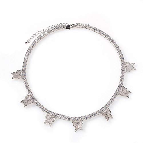 Butterfly Necklace Tennis Chain Butterfly Choker Bling Iced CZ Butterfly Necklace Silver Women (16, 3mm-silver)