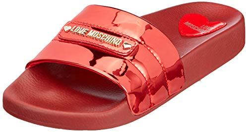 Love Moschino Damen Sabotd.pool25 Specchio Pu Zehentrenner, Rot (Rosso 500), 35 EU