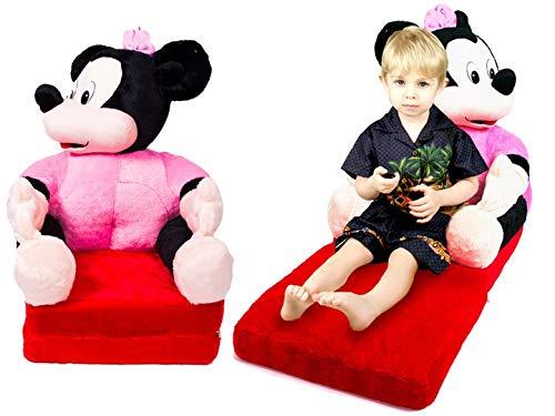 Kindersessel Sessel für Kinder Bär Plüschtier Sitzkissen Sofa Bett Matratze 75x45x90cm (Minni Maus)