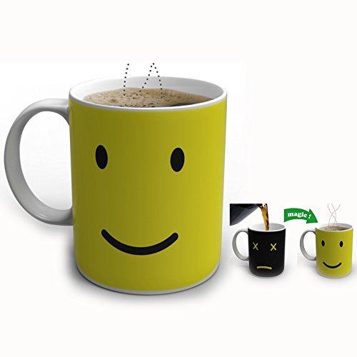 Itian Tasse Kaffeetasse Keramiktasse Verfärbung Becher Teetasse mit Thermoeffekt, Schwarz bis Gelb