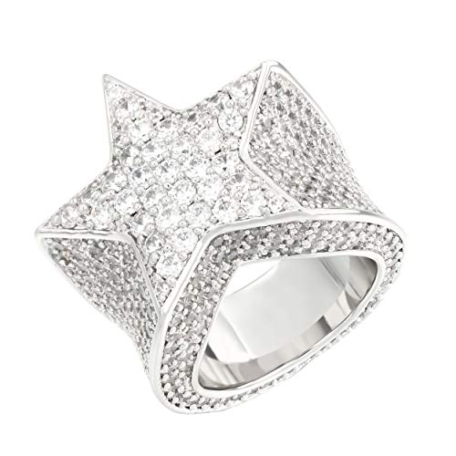 TRIPOD JEWELRY Iced Out Star Pinky Ring-18K Golden,Rose Golden or White Golden Plated-Hip Hop 5A+ Diamond Star Ring for Men Women-Size 7,8,9,10 White Gold