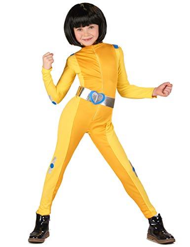 Vegaoo - Spionin-Kinderkostüm für Fasching Kindheitshelden gelb-silberfarben - 110/116 (5-6 Jahre)