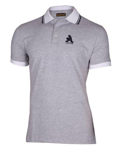 A-Style Polo avec Logo, Gris, L