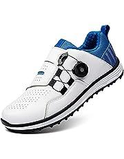 Golfschoen voor heren- Spikeless waterdichte golf shoe men, microvezel-comfortgolftrainerschoenen voor heren, antislip golfsporttrainers Gym sportschoenen-golfsport,Wit,8.5UK