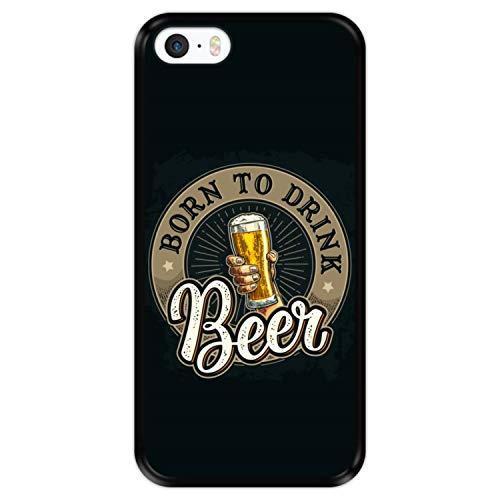 Hapdey Custodia per [ iPhone 5 5S SE ] Disegni [ Saluti, Nato per Bere Birra ] Cover Guscio in Silicone Flessibile Nero TPU