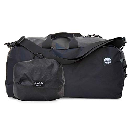 Flowfold 24L Packable Duffle Bag - Ultra Lightweight & Water Resistant - Weekend Overnight Bag - TSA Compliant Carry-On - Vegan - Made in USA - Jet Black