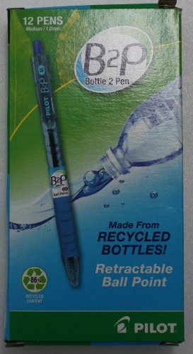 """Pilot B2P""""Bottle to Pen"""" Retractable Ballpoint Pens, Medium Point, 1.0 mm, 86% Recycled, Translucent Blue Barrels, Blue Ink, Pack of 12"""