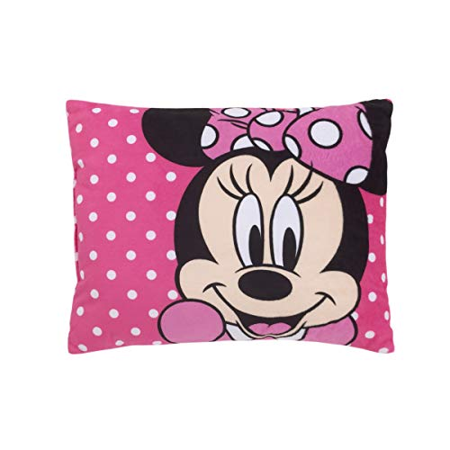 Disney Minnie Mouse Bright Pink Soft Plush Decorative Toddler Pillow, Pink, White, Black