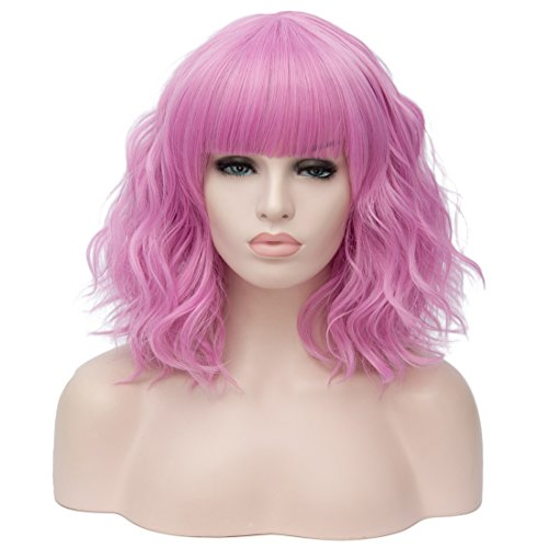 TopWigy Short Pink Bob Wigs Curly Wavy Wig with Bangs Colored Cosplay Custom Party Pastel Lolita Synthetic 14