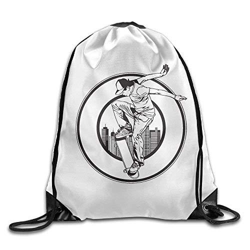 DHNKW Unisex Cool Skateboard Boy Print Drawstring Backpack Rucksack Shoulder Bags Gym Bag Sport Bag