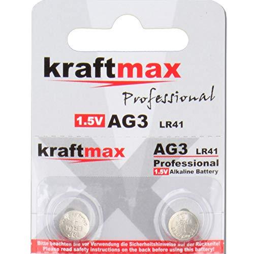 kraftmax 2er Pack Knopfzelle Typ 392 (AG3 / LR736 / LR41) Hochleistungs- Batterie / 1,5V Uhrenbatterie für professionelle Anwendungen - Neuste Generation