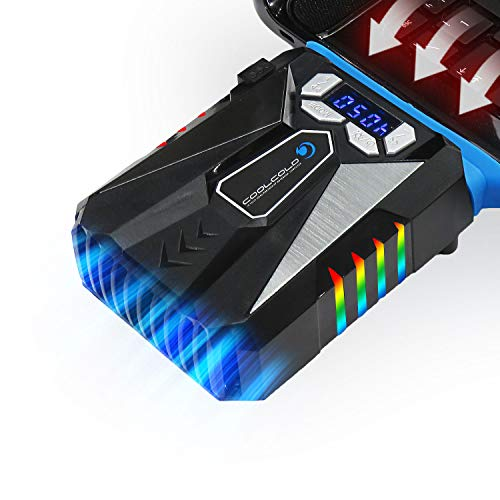 TECHSIDE Dispositivo Raffreddante Sottovuoto Rapido Notebook|Rgb Led|Suction Fan Auto Gaming Lcd|Raffredda Veloce Alte Prestazioni|Automatico|Dissipatore Calore Laptop Notebook Pc Portatile|Universale