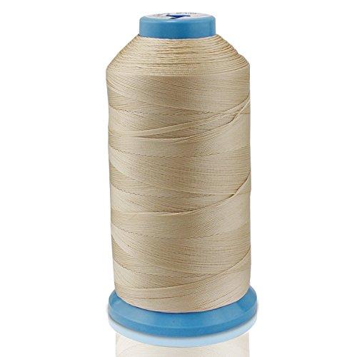 WheateFull - Hilo de coser de nailon fuerte para exteriores, asientos de cuero, bolsos, zapatos, lona, tapicería y máquina de coser beige
