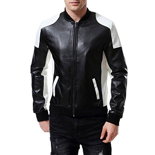 AOWOFS Men's PU Faux Leather Jacket White Black Moto Bomber Fashion Slim Fit Coat (X-Small, Black)
