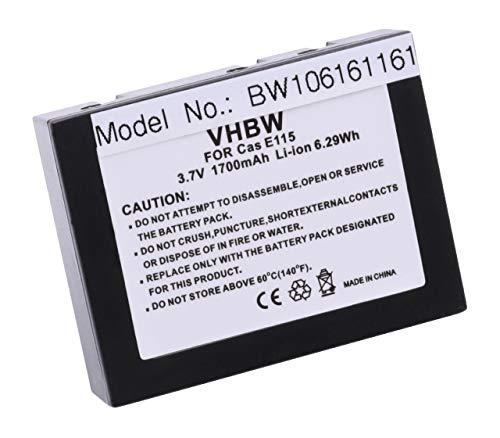 vhbw Batería Li-Ion 1700mAh (3.7V) Compatible con Casio Cassiopeia E100, E105, E115, E125, E125 CSC, E500 reempllaza JK-210LT, JK210LT