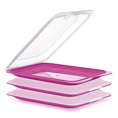 PracticFood - Lote de 3 Porta Embutidos y Alimentos Sistema FRESH, Conservación Optima de Lonchas en Nevera, Color Rosa, Medidas 17 x 3.2 x 25.2 cm