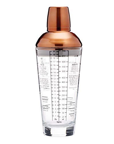 Kitchen Craft Cocktailshaker Bar Craft-Luxe Lounge 700ml in in Kupfer, Mischung aus Mehreren Materialien, Braun/transparent, 12 x 17 x 22 cm