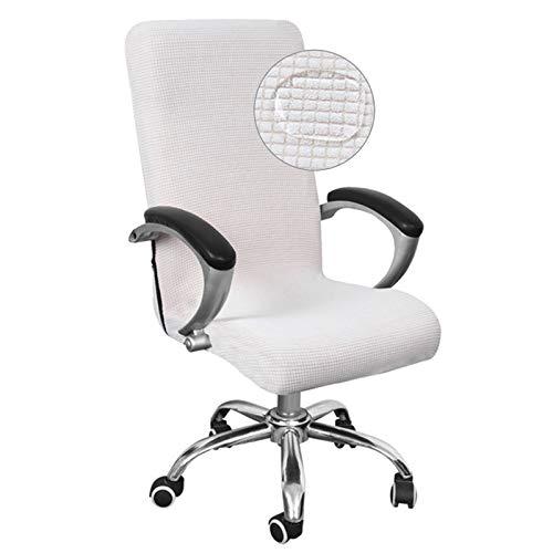 WENBING - Sedia da ufficio impermeabile, copertura per sedia da ufficio e computer universale, modello semplice, stile alto, colore: bianco, M
