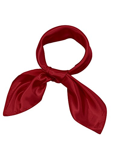Satinior Chiffon Scarf Square Handkerchief Satin Ribbon Scarf Neck Scarf for Women Girls Ladies Favor (23.6 x 23.6 inches, Wine Red)
