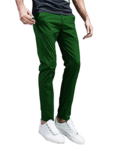 Match Mens Slim-Tapered Flat-Front Casual Pants (32, 8105 Grass Green)