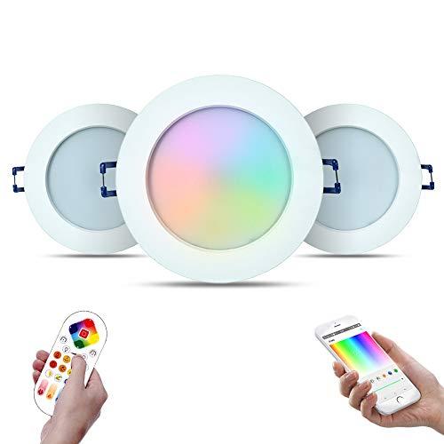 3er-Pack iHomma IP44 RGBWW Smart LED Einbaustrahler Wireless/Bluetooth/IR Kontrol Einbauspots Einbauleuchten mit Smartphone für Android/IOS APP Dimmbar 16 Millionen Farbe 12W 220V (Bluetooth + IR)