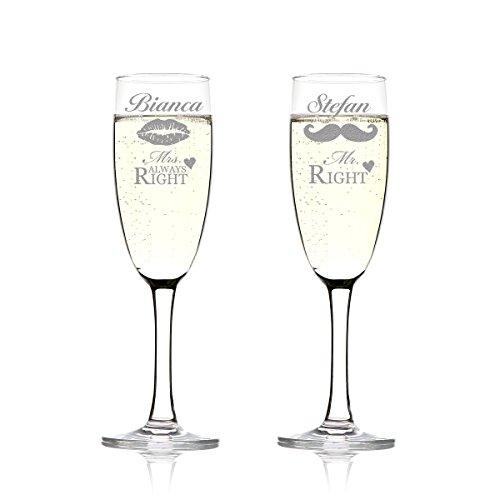 2er Set Sektgläser Personalisiert mit Gravur - Hochzeitsgeschenk für Brautpaare - Namen und Datum - Geschenkidee zur Hochzeit - Hochzeitsgläser für Paare - Mr. Right und Mrs. always Right