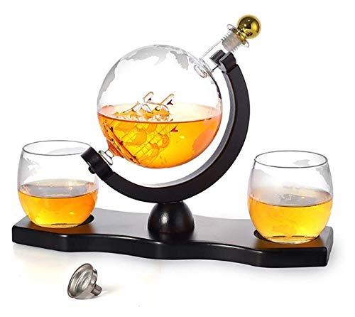 SYZHIWUJIA Set di Navi Decanter Whisky, Dispenser per Alcool caraffa da 900 ml con 2 Bicchieri, Base di Pino, Canna da Imbuto e Rubinetto in Acciaio Inox, Regalo per papà, Marito o Fidanzato Decanter