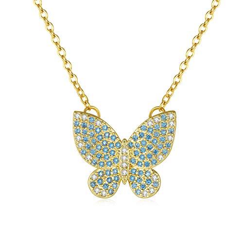 Qings Collar Mariposa Azul Circonita Colgante De Encanto Collar De Joyas De Moda Regalos Sorpresa...