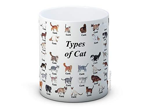 Types of Cat (C*nts) - Types de Chat - humour adulte haute qualité café thé tasse