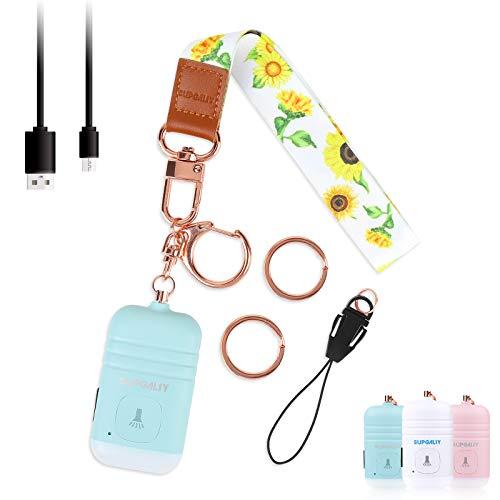 SUPGALIY Safesound Personal Alarm with Wrist Lanyard 1 Set USB Rechargeable 130dB Alarm Keychain LED Flashlight Non-Slip Emergency Self Defense Security Sound Safety Siren for Women Kid Elderly Blue