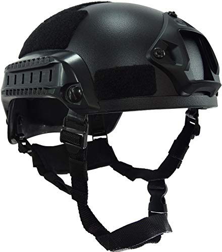 haoYK MICH 2001 Style Tactical Airsoft Paintball Casco con soporte NVG y riel lateral para Airsoft Paintball, color negro